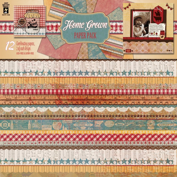 """Hot Off The Press Paper Pack 12""""X12"""" 12/Sheets-Home Grown"""