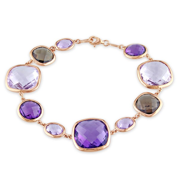 Miadora 14k Rose Gold Amethyst and Rose Quartz Bracelet
