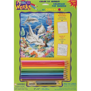 "Pencil Works Color By Number Kit 9""X12""-Dolphins In The Sea"