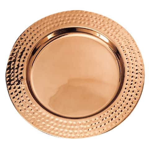 Old Dutch Copper Plated Hammered Rim 13-inch Charger Plates (Set of 6)
