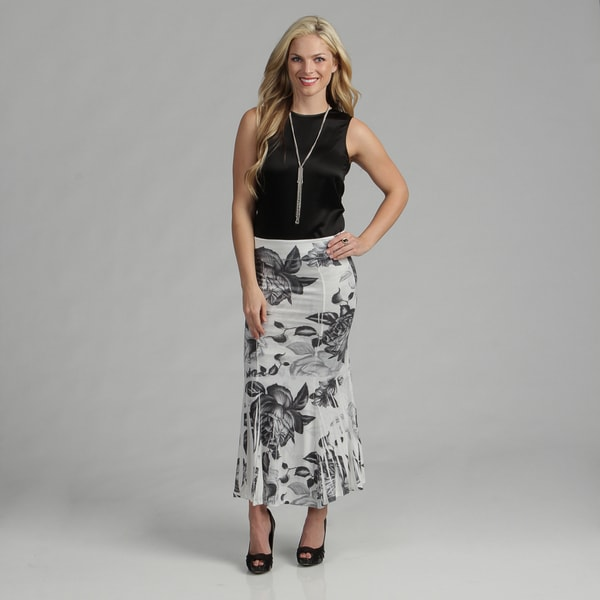 Tabeez Women's Floral Printed Maxi Skirt