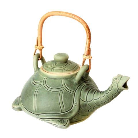 Handmade Ceramic 'Lingering Turtle' Teapot (Indonesia)