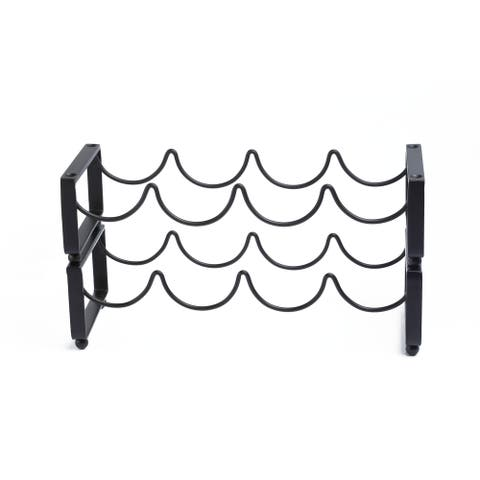 Carson Carrington Haapavesi 4-bottle Black Stackable Wine Rack (Set of 2)