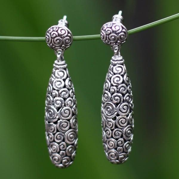 Handmade Sterling Silver 'Clouds' Earrings (Indonesia)