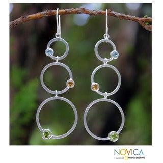 Handmade Sterling Silver 'Spring Rainbow' Multi-gemstone Earrings (Thailand)