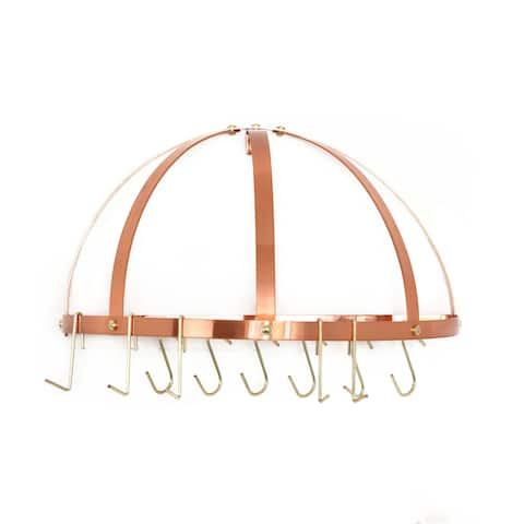 Old Dutch Satin Copper Wall Mount Pot Rack with Grid and 12 Hooks