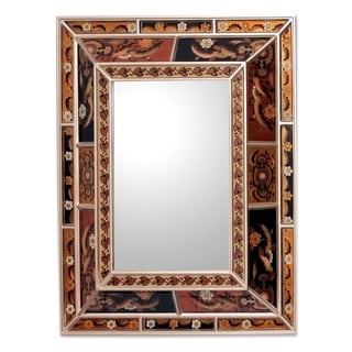 Reverse-painted Glass Warmth of the Earth Mirror (Peru) - Earthtone