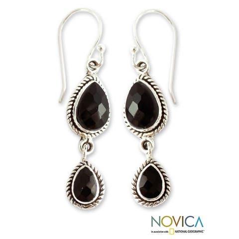 Handmade Sterling Silver 'Midnight Teardrops' Onyx Earrings (India)