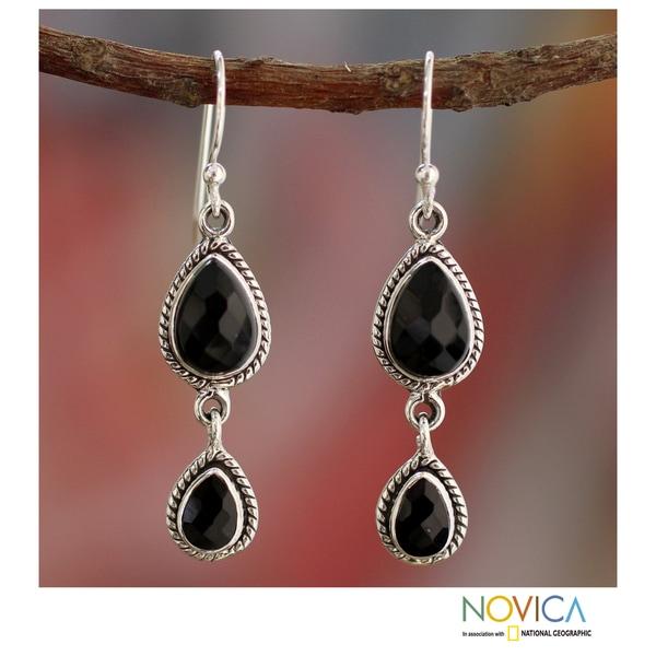 Sterling Silver 'Midnight Teardrops' Onyx Earrings (India)