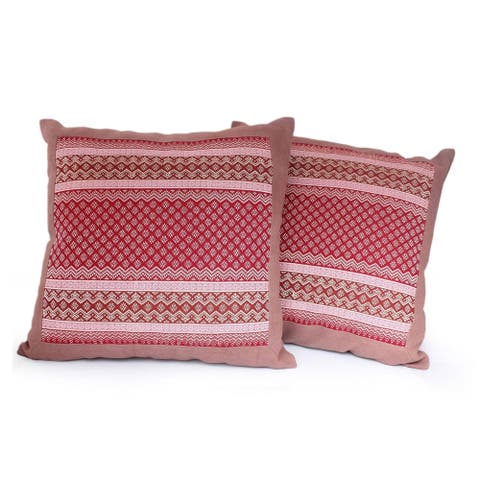 Handmade Cotton Royal Red Set of 2 Cushion Covers (Thailand)