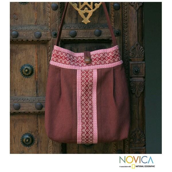Handmade Cotton 'Lanna Bouquet' Large Shoulder Bag (Thailand)