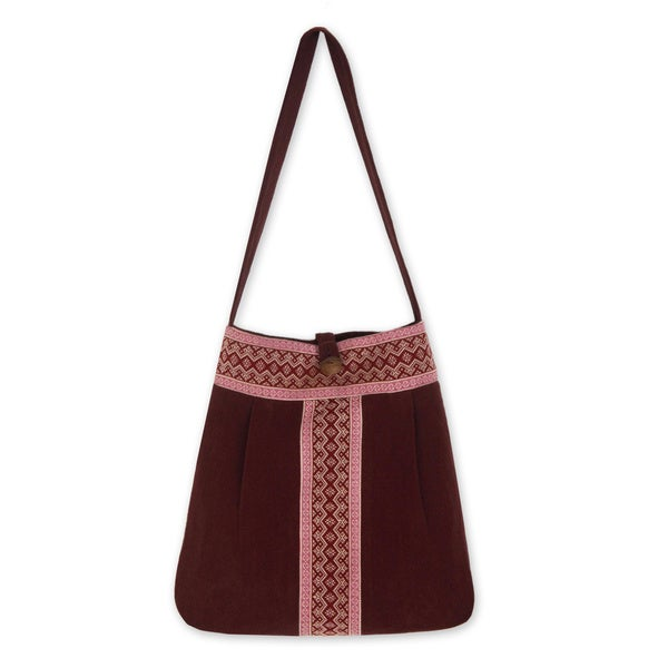 Handmade Cotton 'Lanna Bouquet' Large Shoulder Bag (Thailand)
