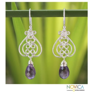 Handmade Sterling Silver 'Pretty and Petite' Amethyst Earrings (Thailand)