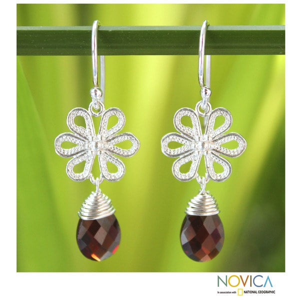 Sterling Silver 'Precious Petals' Garnet Earrings (Thailand)