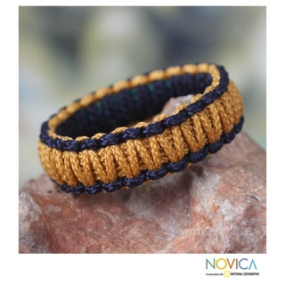 Handcrafted Polyester 'Queen Amina in Gold and Navy' Bracelet (Ghana)