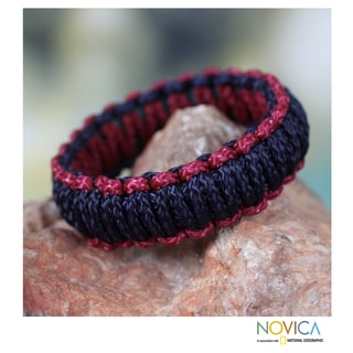 Handcrafted Polyester 'Queen Amina in Navy and Wine' Bracelet (Ghana)