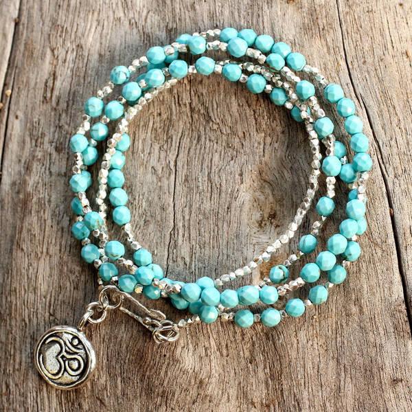 Handmade Sterling Silver Turquoise Universal Harmony Multi Stone Ohm Pendant Bracelet (Thailand)