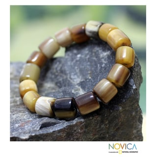 Handcrafted Bull Horn 'Korleki in Brown' Bracelet (Ghana)