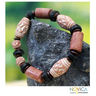 Handcrafted Ceramic and Bauxite 'Lovely Lady' Bracelet (Ghana)