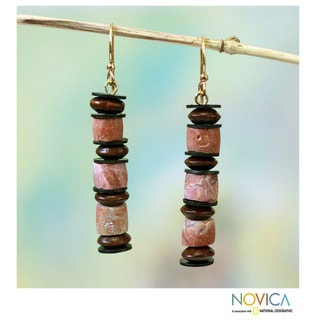 Handcrafted Bauxite 'Akoma' Earrings (Ghana)