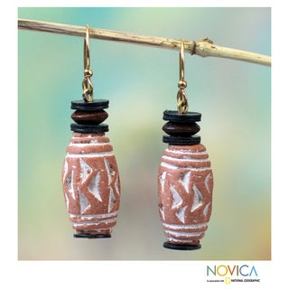 Handcrafted Terracotta 'Dondo' Earrings (Ghana)