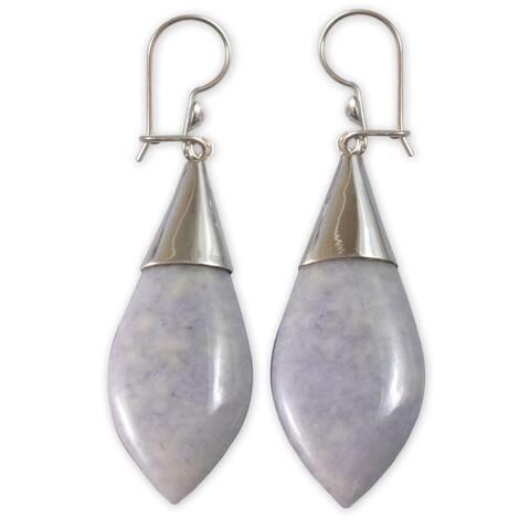 Handmade Sterling Silver 'Maya Lance of Twilight' Jade Earrings (Guatemala)