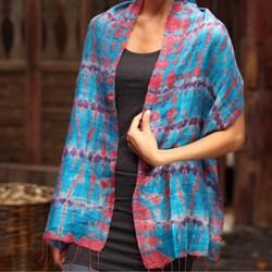 Handmade Silk 'Azure Wilderness' Scarf (Thailand)