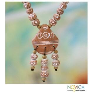 Handmade Ceramic and Sese Wood 'Mamprusi Love' Necklace (Ghana)