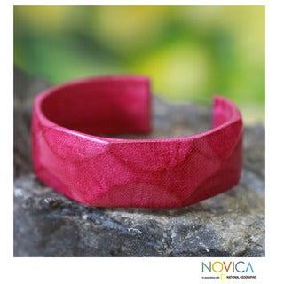 Handmade Leather 'African Rose' Cuff Bracelet (Ghana)