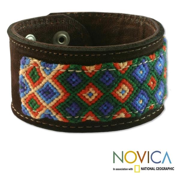 Handcrafted Leather and Cotton 'Maya Village' Bracelet (Guatemala)