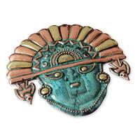 Ai Apaec Sun Crown Artisan Handmade Copper Bronze Metal Green Turquoise Hue Artisan handcrafted Moche Cultural Decor Mask (Peru)