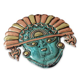 Ai Apaec Sun Crown Artisan Handmade Copper Bronze Metal Green Turquoise Hue Artisan handcrafted Moche Cultural Decor Mask (Peru)