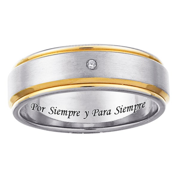 Two-tone Titanium Men's Diamond Accent 'Por Siempre y Para Siempre' Band