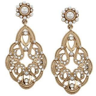 Carolee CZ, Faux Pearl Large Double Drop Earrings