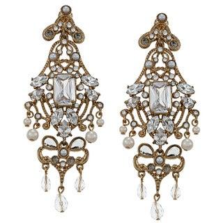 Carolee CZ, Faux Pearl Art Deco Drama Chandelier Earrings