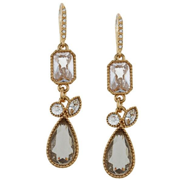 Carolee CZ Small Linear Art Deco Drop Earrings