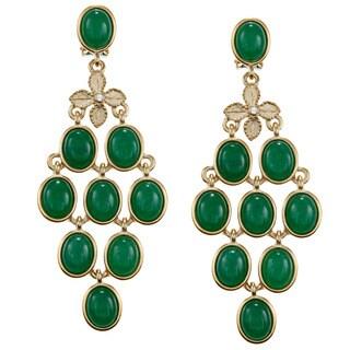 Carolee CZ Oval Cab Chandelier Earrings
