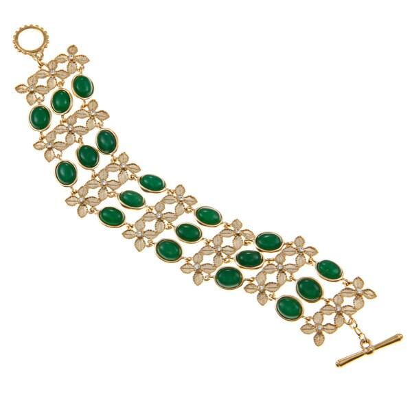 Carolee Jade Leaf Link Bracelet
