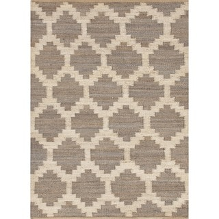 Flat Weave Moroccan Beige/ Brown Hemp/ Jute Rug (2' x 3')