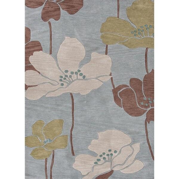 Transitional Floral Blue Rug (7'6 x 9'6)
