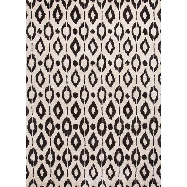 Cloud White Modern Geometric Wool/Silk Tufted Rug (5' x 8')