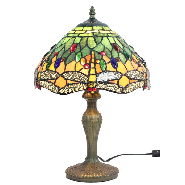 tiffany style yellow green dragonfly table lamp free shipping today. Black Bedroom Furniture Sets. Home Design Ideas