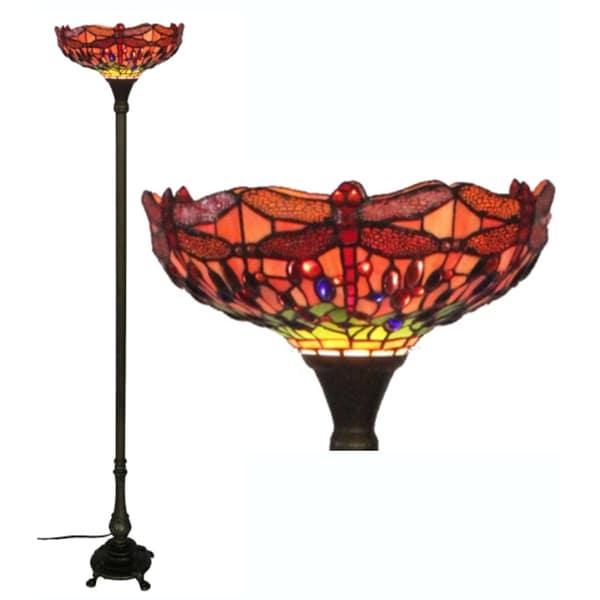 Glass Tiffany-style Dragonfly Floor Lamp