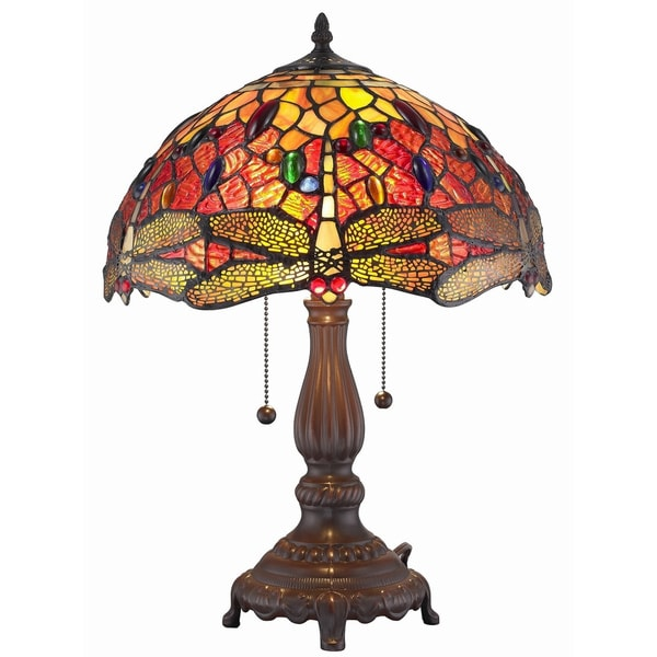 Tiffany-style Style Dragonfly Table Lamp