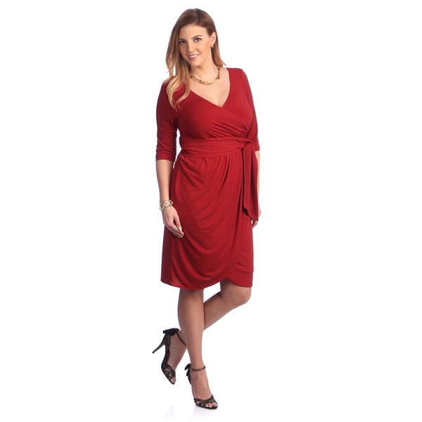 Kiyonna Women's Plus Size Red Jersey Wrap Dress