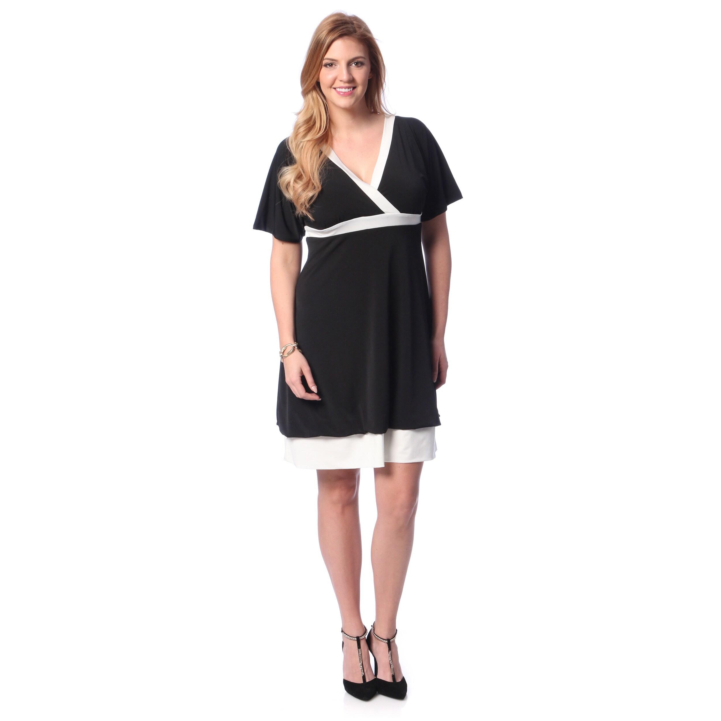 Evanese Women\'s Plus Size Two-tone Bubble-hem Dress