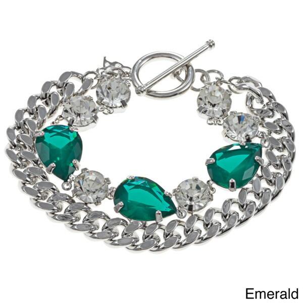 ABS by Allen Schwartz Jewel Tone CZ 8-inch Chain Stone Toggle Bracelet