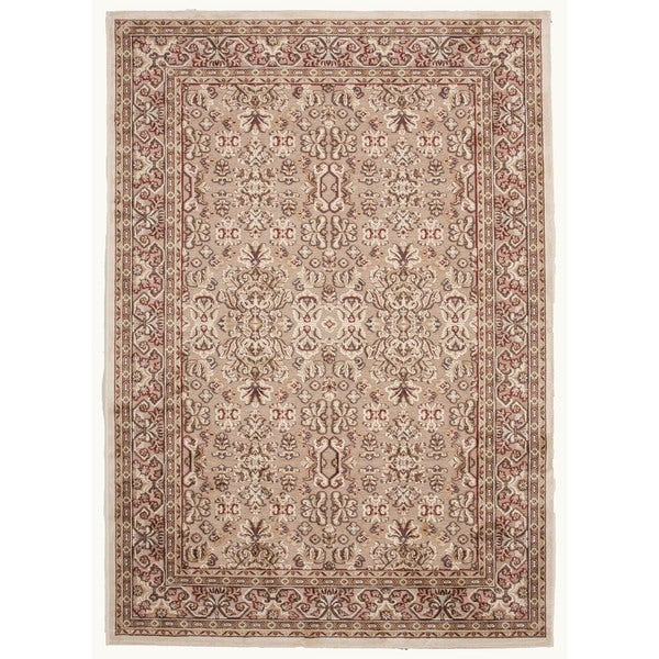"Traditional Beige/Brown Viscose/Chenille Oriental Rug (7'6"" x 9'6"")"