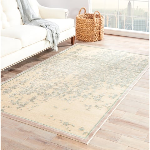 Adria Abstract Beige/ Green Area Rug (2' X 3') - 2' x 3'