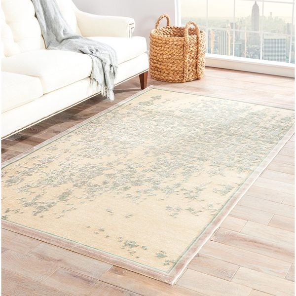 Adria Abstract Beige/ Green Area Rug - 9' x 12'